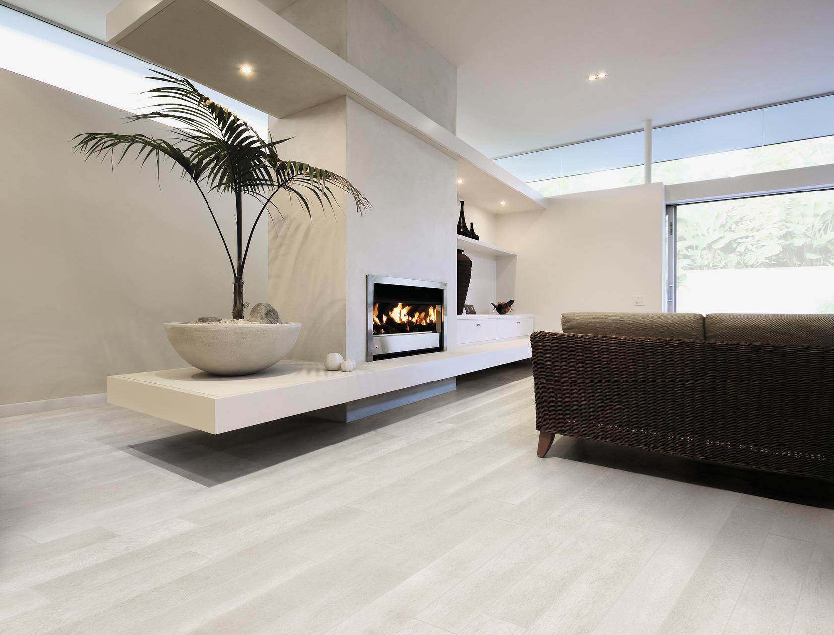 Pavimento effetto legno bianco in gres porcellanato - Camera da letto rovere sbiancato ...